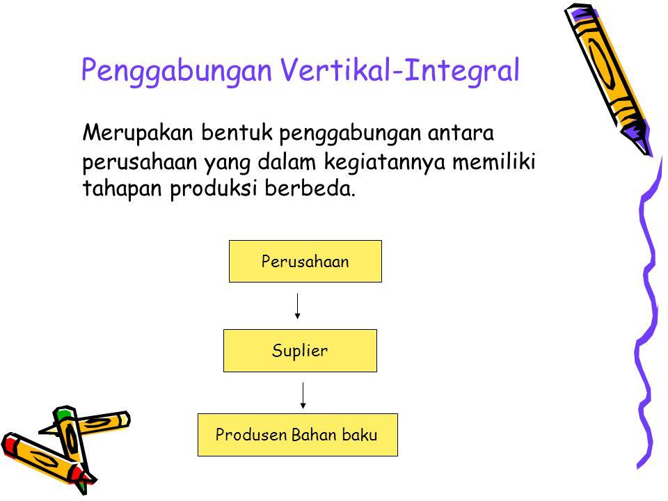 Penggabungan Vertikal-Integral Merupakan bentuk penggabungan antara perusahaan yang dalam kegiatannya memiliki tahapan produksi berbeda. Perusahaan Su