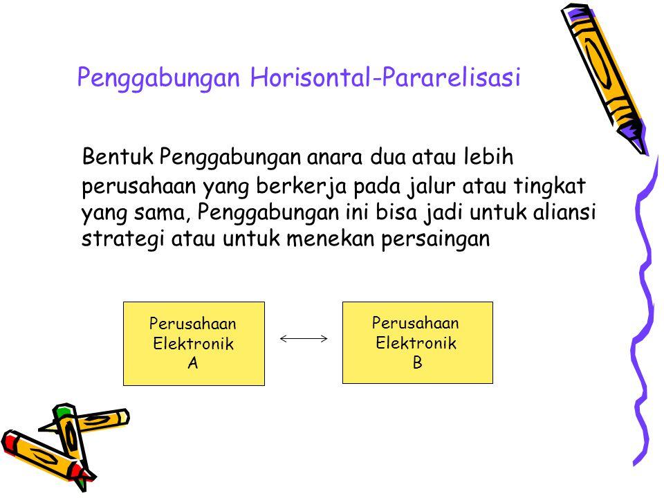 Penggabungan Horisontal-Pararelisasi Bentuk Penggabungan anara dua atau lebih perusahaan yang berkerja pada jalur atau tingkat yang sama, Penggabungan