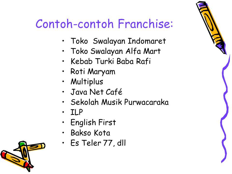 Contoh-contoh Franchise: Toko Swalayan Indomaret Toko Swalayan Alfa Mart Kebab Turki Baba Rafi Roti Maryam Multiplus Java Net Café Sekolah Musik Purwa