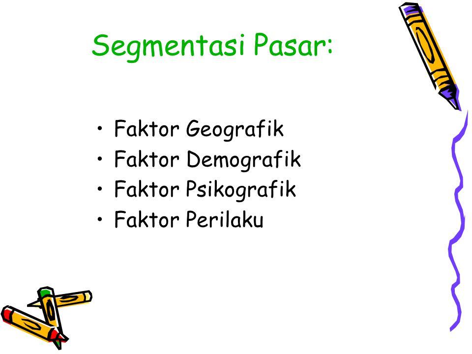Segmentasi Pasar: Faktor Geografik Faktor Demografik Faktor Psikografik Faktor Perilaku