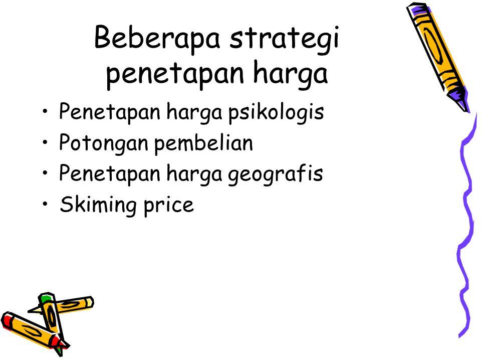 Beberapa strategi penetapan harga Penetapan harga psikologis Potongan pembelian Penetapan harga geografis Skiming price
