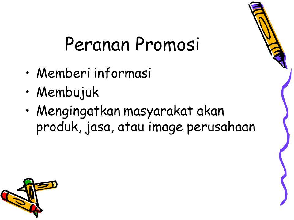 Peranan Promosi Memberi informasi Membujuk Mengingatkan masyarakat akan produk, jasa, atau image perusahaan