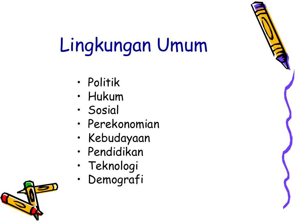Lingkungan Umum Politik Hukum Sosial Perekonomian Kebudayaan Pendidikan Teknologi Demografi