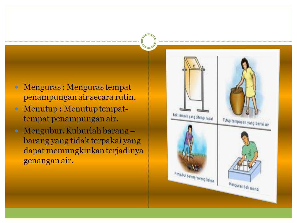Menguras : Menguras tempat penampungan air secara rutin, Menutup : Menutup tempat- tempat penampungan air. Mengubur. Kuburlah barang – barang yang tid