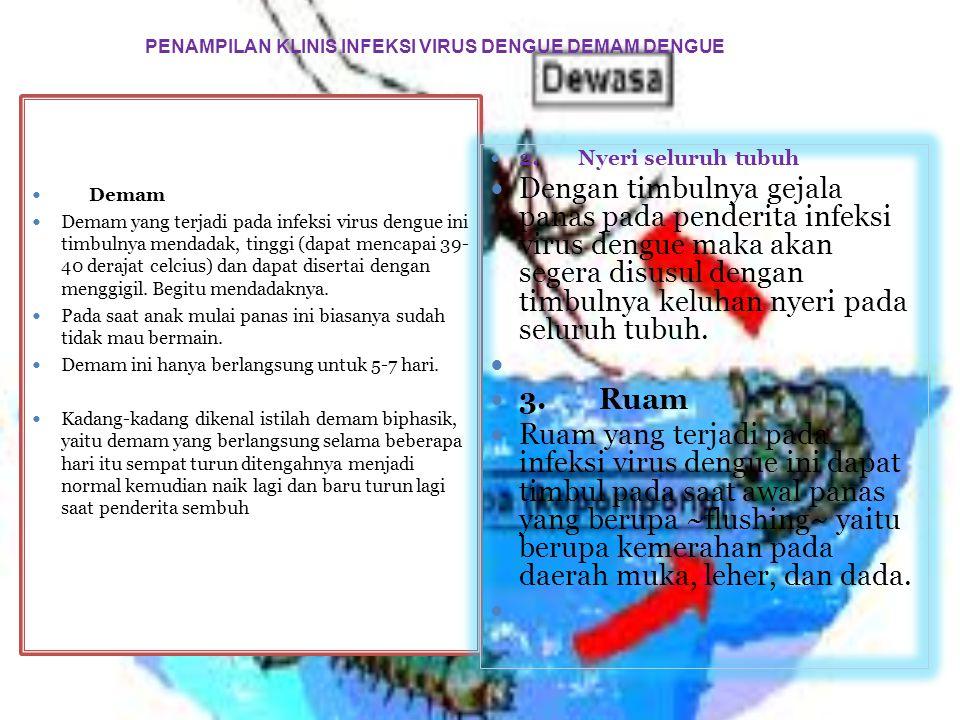 PENAMPILAN KLINIS INFEKSI VIRUS DENGUE DEMAM DENGUE Demam Demam yang terjadi pada infeksi virus dengue ini timbulnya mendadak, tinggi (dapat mencapai