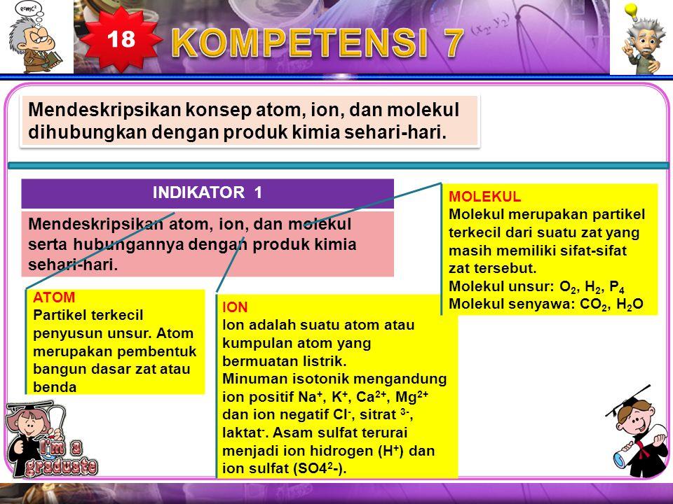 Mendeskripsikan konsep atom, ion, dan molekul dihubungkan dengan produk kimia sehari-hari. INDIKATOR 1 Mendeskripsikan atom, ion, dan molekul serta hu