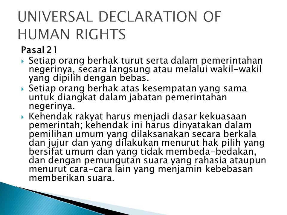  Hak untuk memperoleh kesempatan yang sama dalam pemerintahan (Pasal 28 D ayat (3))