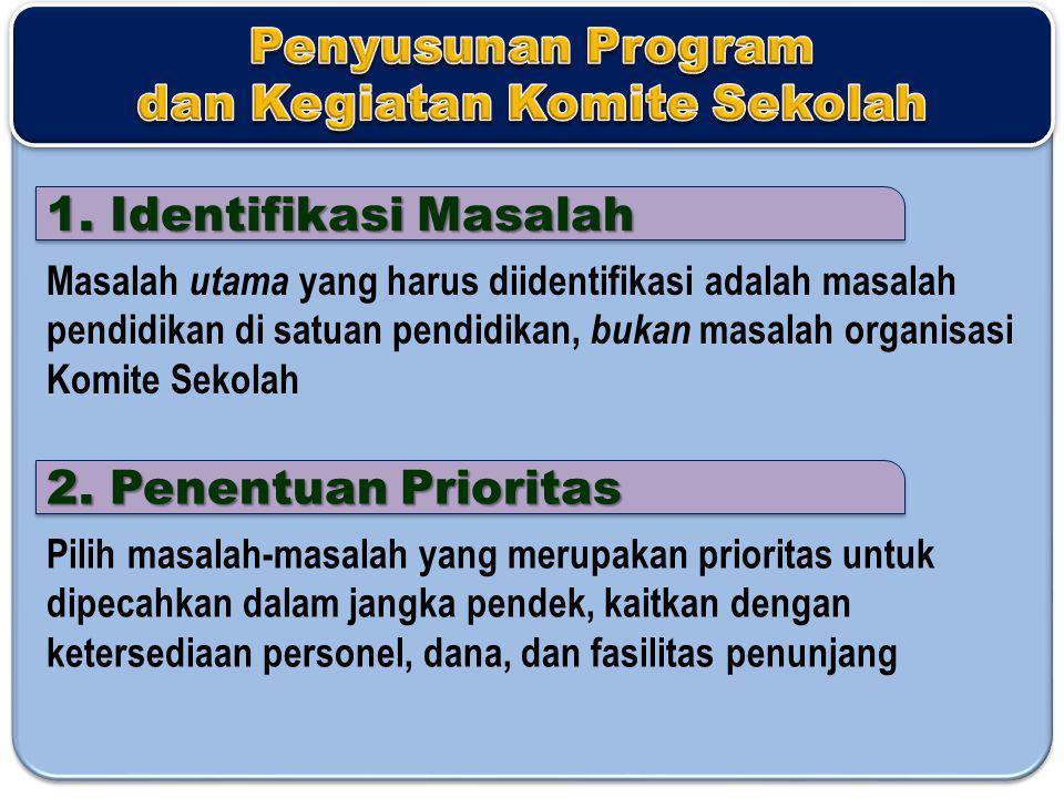 1. Identifikasi Masalah Masalah utama yang harus diidentifikasi adalah masalah pendidikan di satuan pendidikan, bukan masalah organisasi Komite Sekola