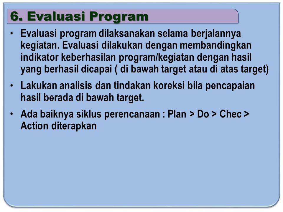 6.Evaluasi Program Evaluasi program dilaksanakan selama berjalannya kegiatan.