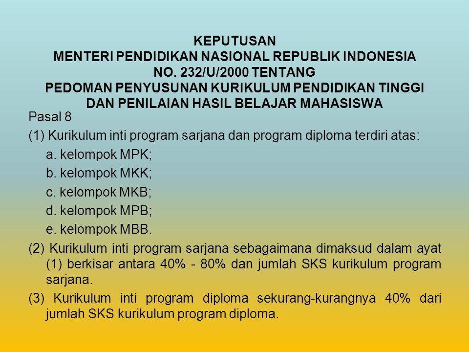 KEPUTUSAN MENTERI PENDIDIKAN NASIONAL REPUBLIK INDONESIA NO. 232/U/2000 TENTANG PEDOMAN PENYUSUNAN KURIKULUM PENDIDIKAN TINGGI DAN PENILAIAN HASIL BEL