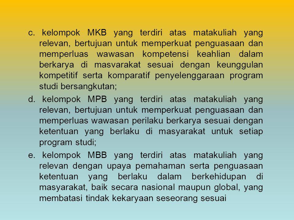 c. kelompok MKB yang terdiri atas matakuliah yang relevan, bertujuan untuk memperkuat penguasaan dan memperluas wawasan kompetensi keahlian dalam berk
