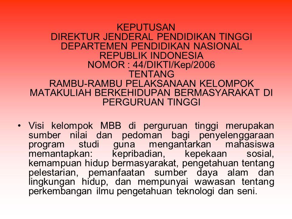 KEPUTUSAN DIREKTUR JENDERAL PENDIDIKAN TINGGI DEPARTEMEN PENDIDIKAN NASIONAL REPUBLIK INDONESIA NOMOR : 44/DIKTI/Kep/2006 TENTANG RAMBU-RAMBU PELAKSAN