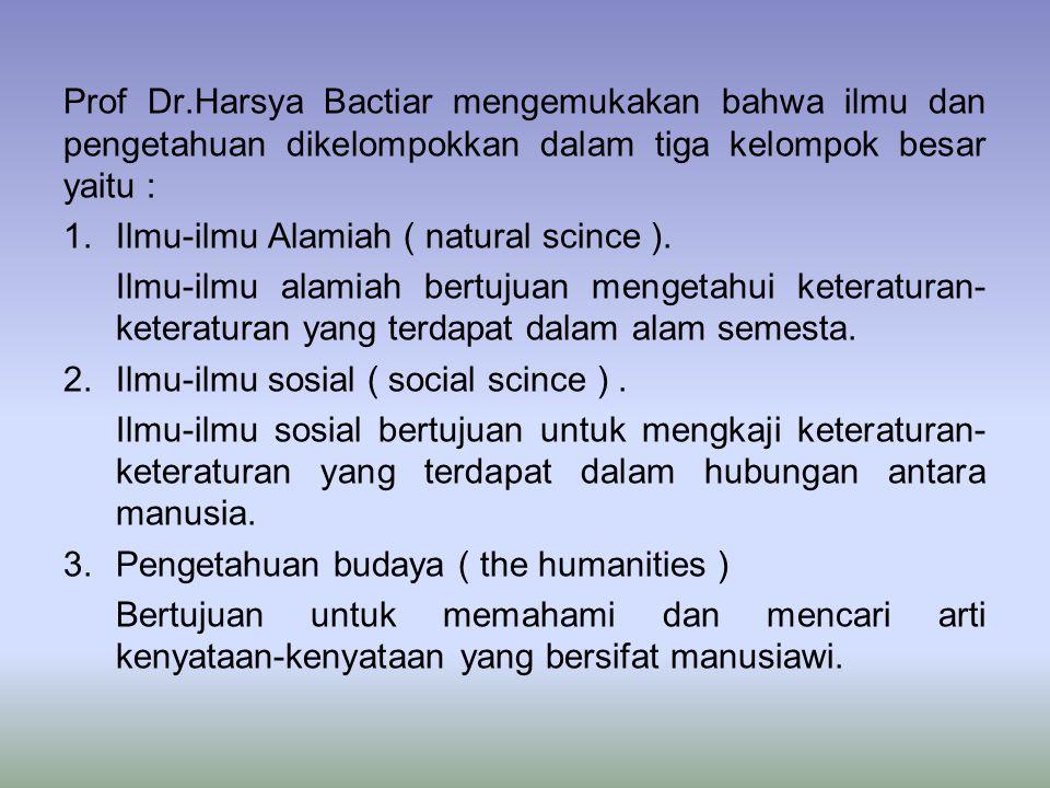 Prof Dr.Harsya Bactiar mengemukakan bahwa ilmu dan pengetahuan dikelompokkan dalam tiga kelompok besar yaitu : 1.Ilmu-ilmu Alamiah ( natural scince ).