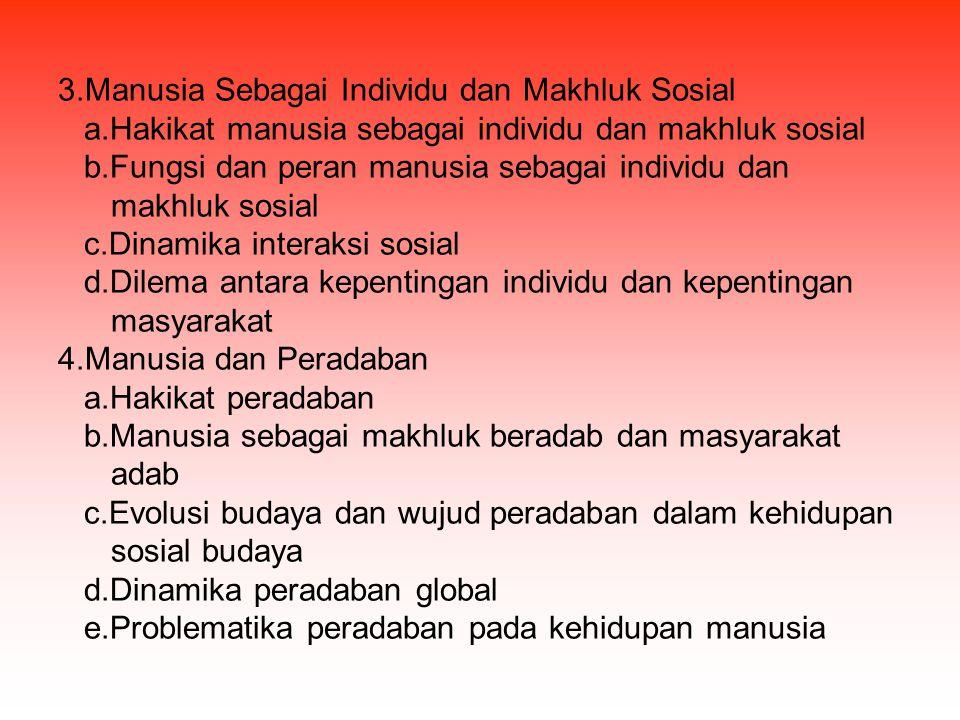 3.Manusia Sebagai Individu dan Makhluk Sosial a.Hakikat manusia sebagai individu dan makhluk sosial b.Fungsi dan peran manusia sebagai individu dan ma