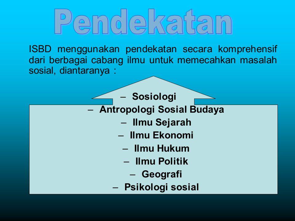 ISBD menggunakan pendekatan secara komprehensif dari berbagai cabang ilmu untuk memecahkan masalah sosial, diantaranya : –Sosiologi –Antropologi Sosia