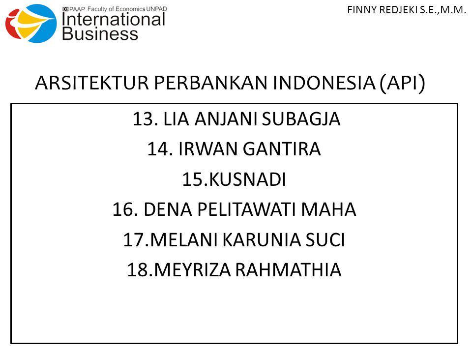 ARSITEKTUR PERBANKAN INDONESIA (API) 13. LIA ANJANI SUBAGJA 14. IRWAN GANTIRA 15.KUSNADI 16. DENA PELITAWATI MAHA 17.MELANI KARUNIA SUCI 18.MEYRIZA RA