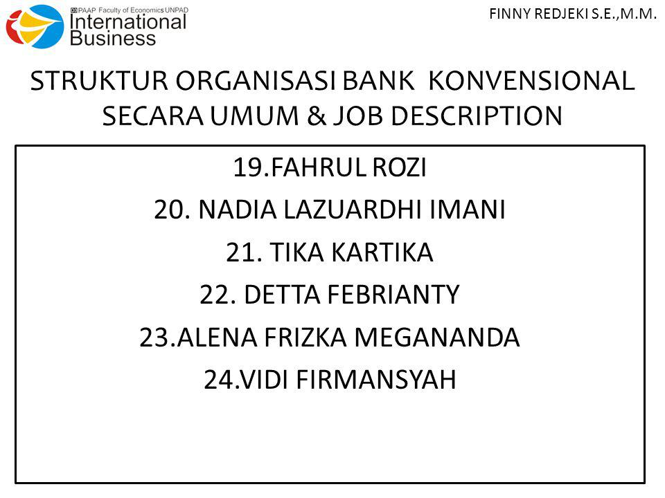 STRUKTUR ORGANISASI BANK KONVENSIONAL SECARA UMUM & JOB DESCRIPTION 19.FAHRUL ROZI 20.