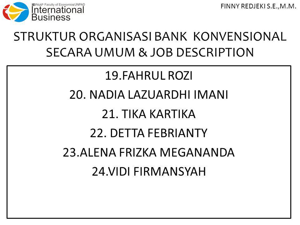 STRUKTUR ORGANISASI BANK KONVENSIONAL SECARA UMUM & JOB DESCRIPTION 19.FAHRUL ROZI 20. NADIA LAZUARDHI IMANI 21. TIKA KARTIKA 22. DETTA FEBRIANTY 23.A