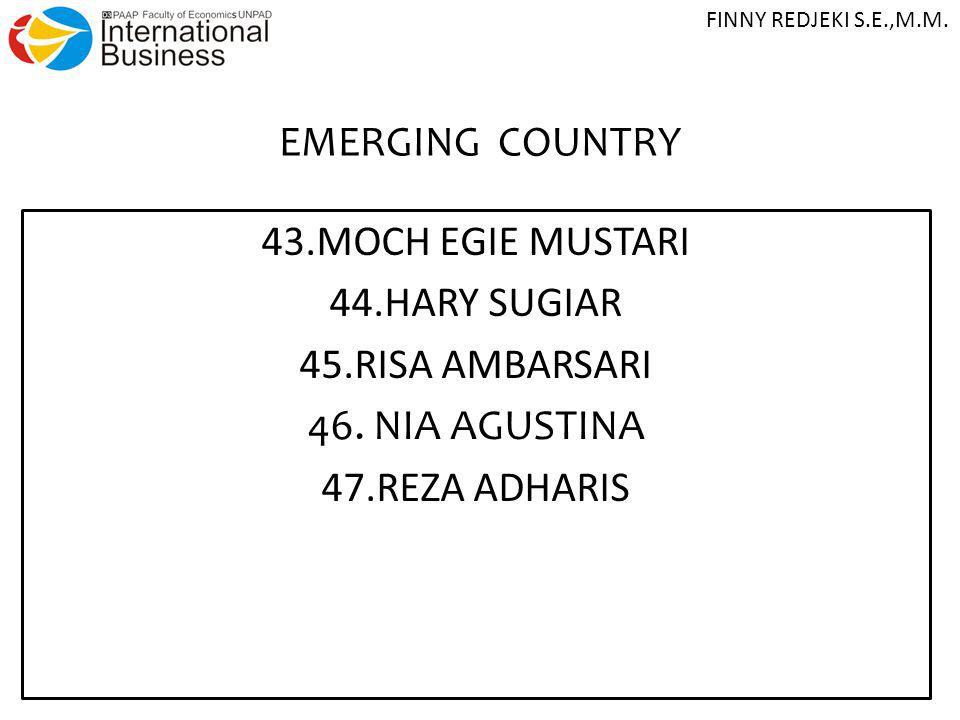 EMERGING COUNTRY 43.MOCH EGIE MUSTARI 44.HARY SUGIAR 45.RISA AMBARSARI 46. NIA AGUSTINA 47.REZA ADHARIS FINNY REDJEKI S.E.,M.M.