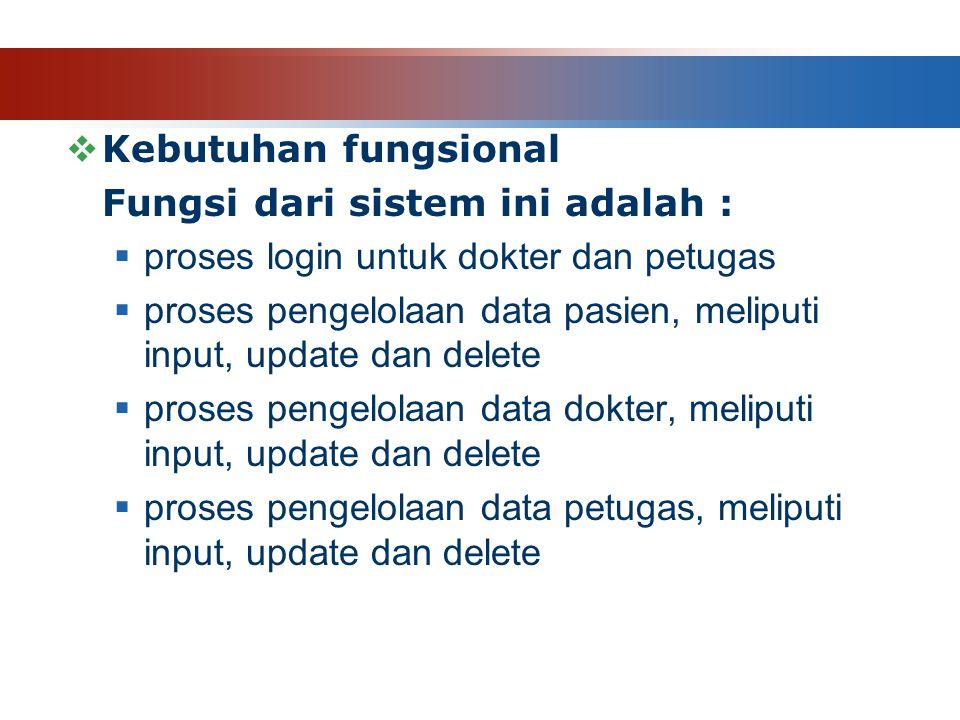  Kebutuhan fungsional Fungsi dari sistem ini adalah :  proses login untuk dokter dan petugas  proses pengelolaan data pasien, meliputi input, update dan delete  proses pengelolaan data dokter, meliputi input, update dan delete  proses pengelolaan data petugas, meliputi input, update dan delete