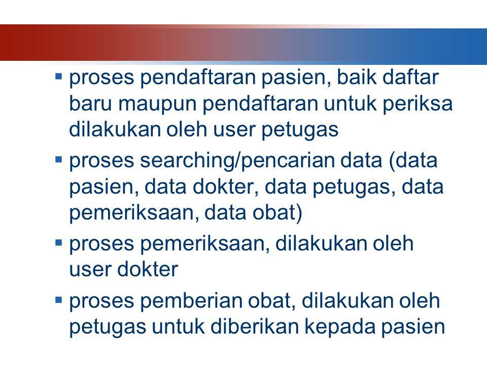  proses pendaftaran pasien, baik daftar baru maupun pendaftaran untuk periksa dilakukan oleh user petugas  proses searching/pencarian data (data pasien, data dokter, data petugas, data pemeriksaan, data obat)  proses pemeriksaan, dilakukan oleh user dokter  proses pemberian obat, dilakukan oleh petugas untuk diberikan kepada pasien