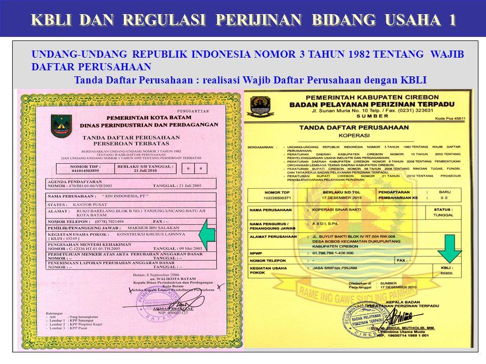 KBLI DAN REGULASI PERIJINAN BIDANG USAHA 1 UNDANG-UNDANG REPUBLIK INDONESIA NOMOR 3 TAHUN 1982 TENTANG WAJIB DAFTAR PERUSAHAAN Tanda Daftar Perusahaan
