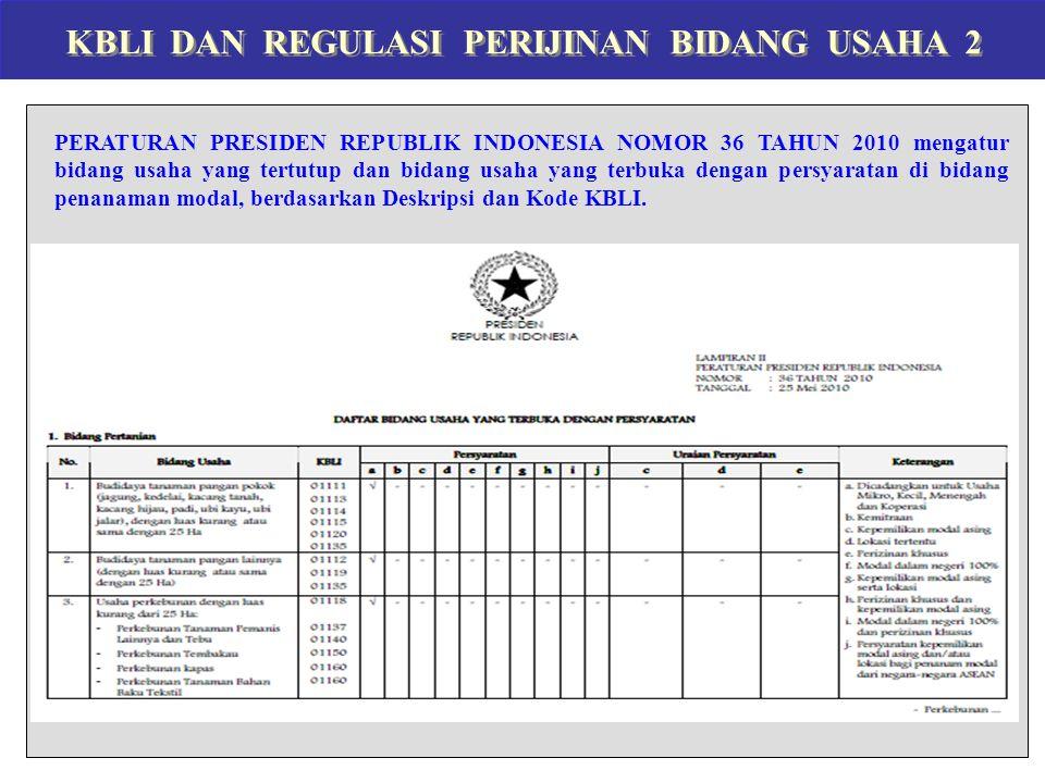 KBLI DAN REGULASI PERIJINAN BIDANG USAHA 2 PERATURAN PRESIDEN REPUBLIK INDONESIA NOMOR 36 TAHUN 2010 mengatur bidang usaha yang tertutup dan bidang us