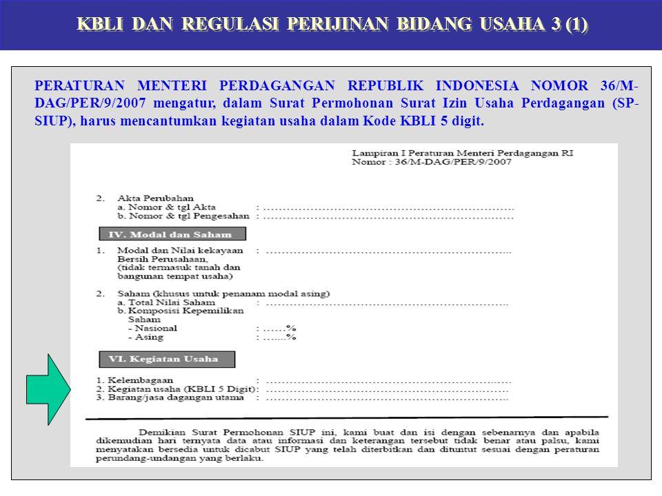 KBLI DAN REGULASI PERIJINAN BIDANG USAHA 3 (1) PERATURAN MENTERI PERDAGANGAN REPUBLIK INDONESIA NOMOR 36/M- DAG/PER/9/2007 mengatur, dalam Surat Permohonan Surat Izin Usaha Perdagangan (SP- SIUP), harus mencantumkan kegiatan usaha dalam Kode KBLI 5 digit.