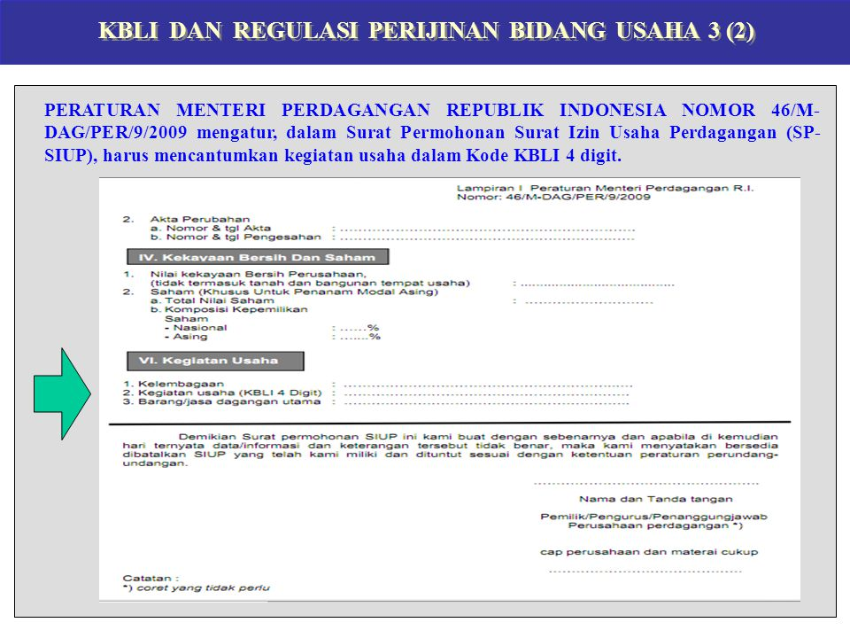 KBLI DAN REGULASI PERIJINAN BIDANG USAHA 3 (2) PERATURAN MENTERI PERDAGANGAN REPUBLIK INDONESIA NOMOR 46/M- DAG/PER/9/2009 mengatur, dalam Surat Permo