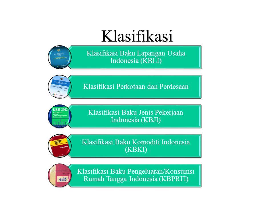 Klasifikasi Klasifikasi Baku Lapangan Usaha Indonesia (KBLI) Klasifikasi Perkotaan dan Perdesaan Klasifikasi Baku Jenis Pekerjaan Indonesia (KBJI) Klasifikasi Baku Komoditi Indonesia (KBKI) Klasifikasi Baku Pengeluaran/Konsumsi Rumah Tangga Indonesia (KBPRTI)