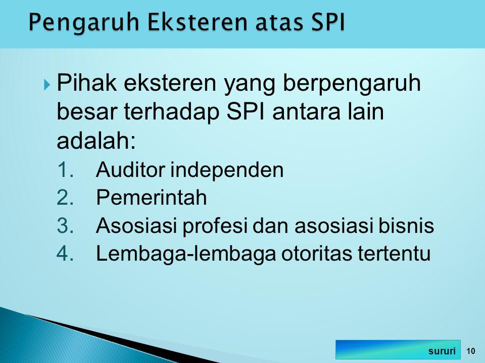  Pihak eksteren yang berpengaruh besar terhadap SPI antara lain adalah: 1.Auditor independen 2.Pemerintah 3.Asosiasi profesi dan asosiasi bisnis 4.Le