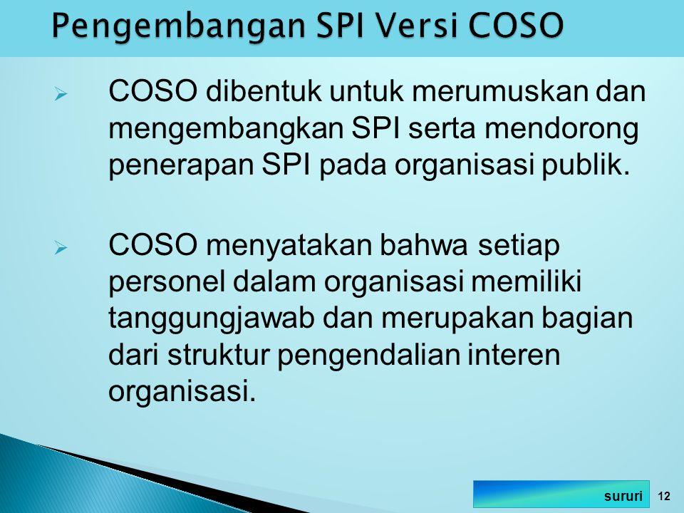  COSO dibentuk untuk merumuskan dan mengembangkan SPI serta mendorong penerapan SPI pada organisasi publik.  COSO menyatakan bahwa setiap personel d