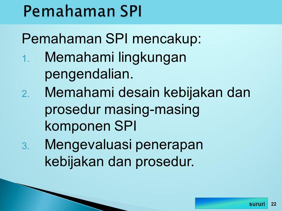 Pemahaman SPI mencakup: 1. Memahami lingkungan pengendalian. 2. Memahami desain kebijakan dan prosedur masing-masing komponen SPI 3. Mengevaluasi pene