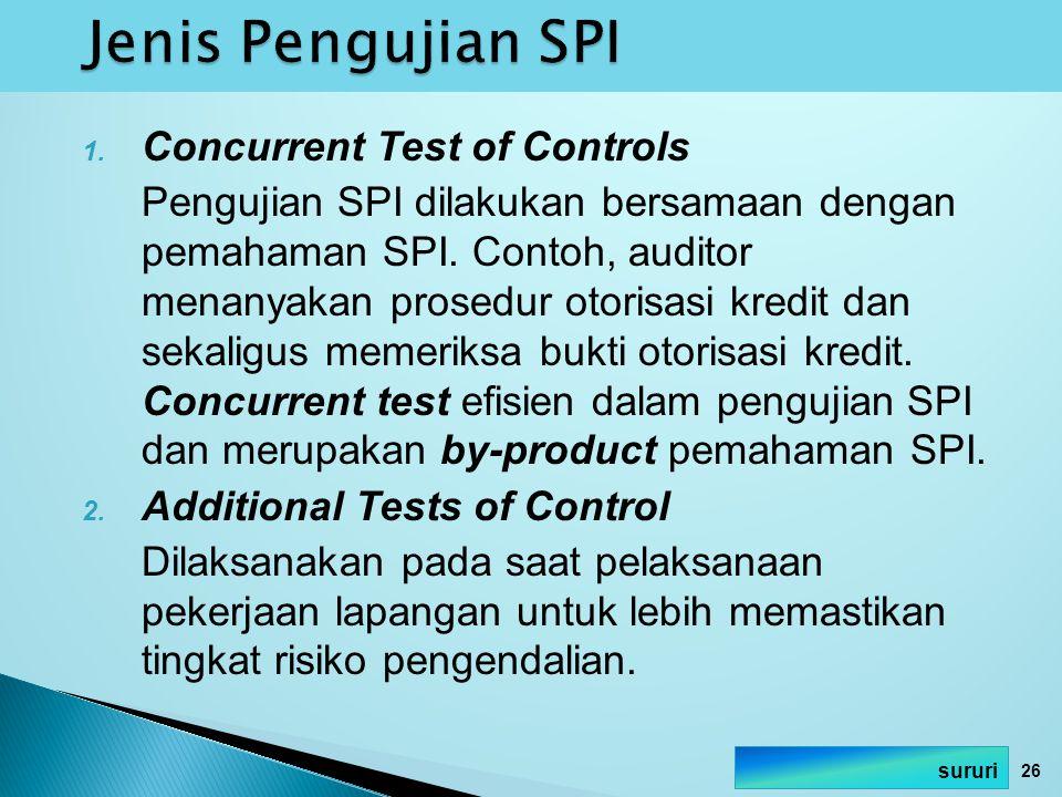 1. Concurrent Test of Controls Pengujian SPI dilakukan bersamaan dengan pemahaman SPI. Contoh, auditor menanyakan prosedur otorisasi kredit dan sekali
