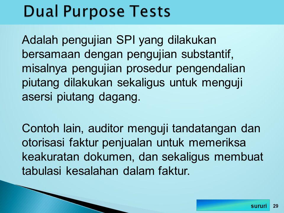 Adalah pengujian SPI yang dilakukan bersamaan dengan pengujian substantif, misalnya pengujian prosedur pengendalian piutang dilakukan sekaligus untuk