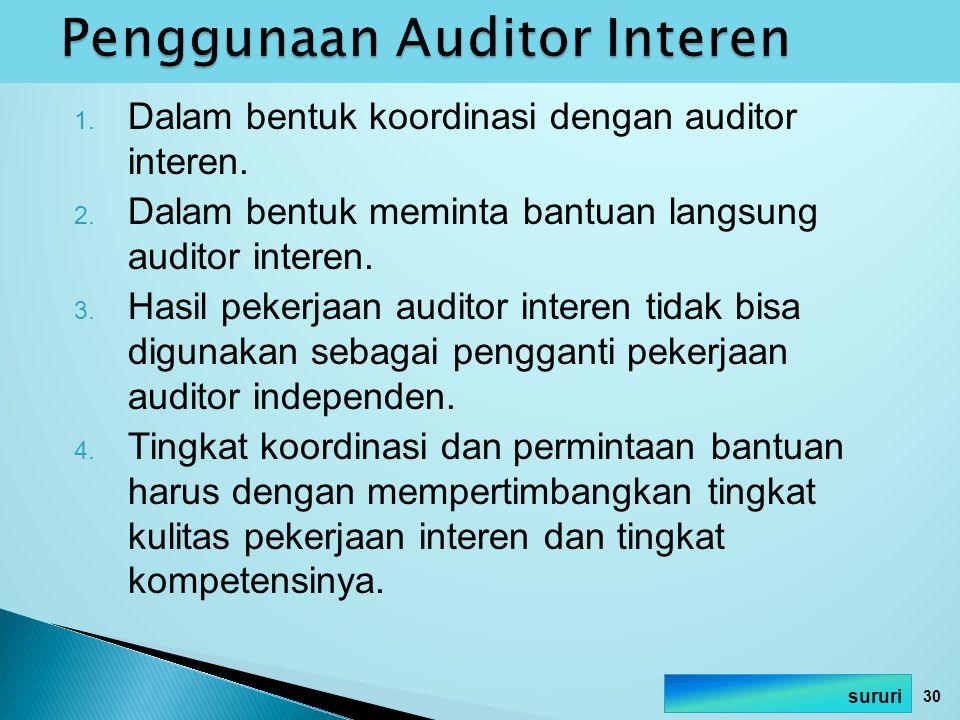 1. Dalam bentuk koordinasi dengan auditor interen. 2. Dalam bentuk meminta bantuan langsung auditor interen. 3. Hasil pekerjaan auditor interen tidak