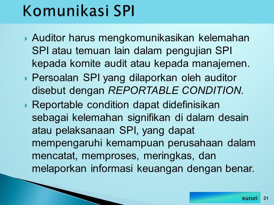 Auditor harus mengkomunikasikan kelemahan SPI atau temuan lain dalam pengujian SPI kepada komite audit atau kepada manajemen.  Persoalan SPI yang d