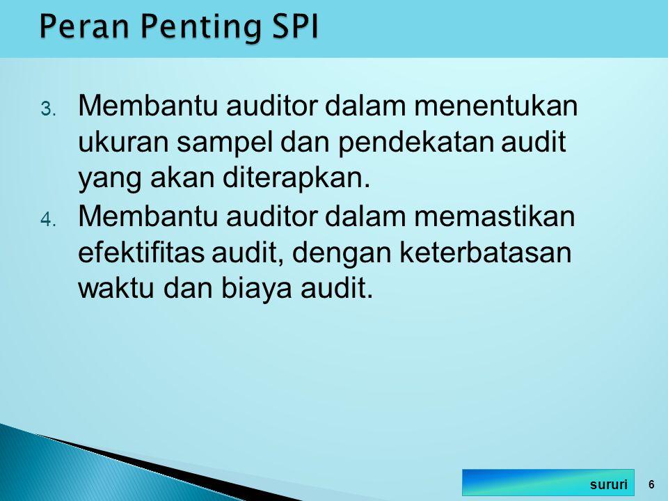 3. Membantu auditor dalam menentukan ukuran sampel dan pendekatan audit yang akan diterapkan. 4. Membantu auditor dalam memastikan efektifitas audit,