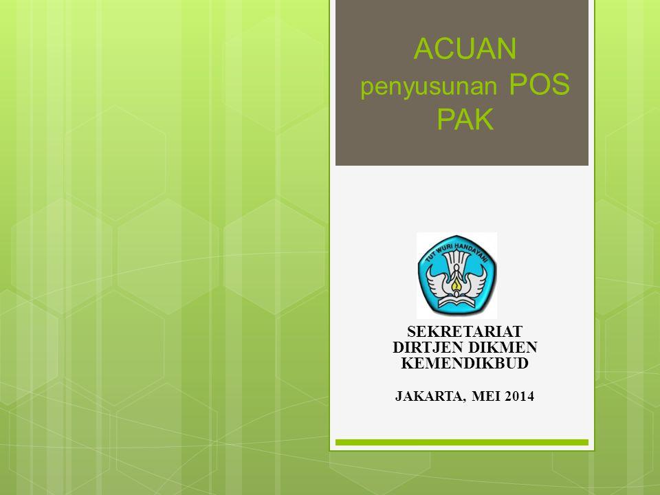 ACUAN penyusunan POS PAK SEKRETARIAT DIRTJEN DIKMEN KEMENDIKBUD JAKARTA, MEI 2014