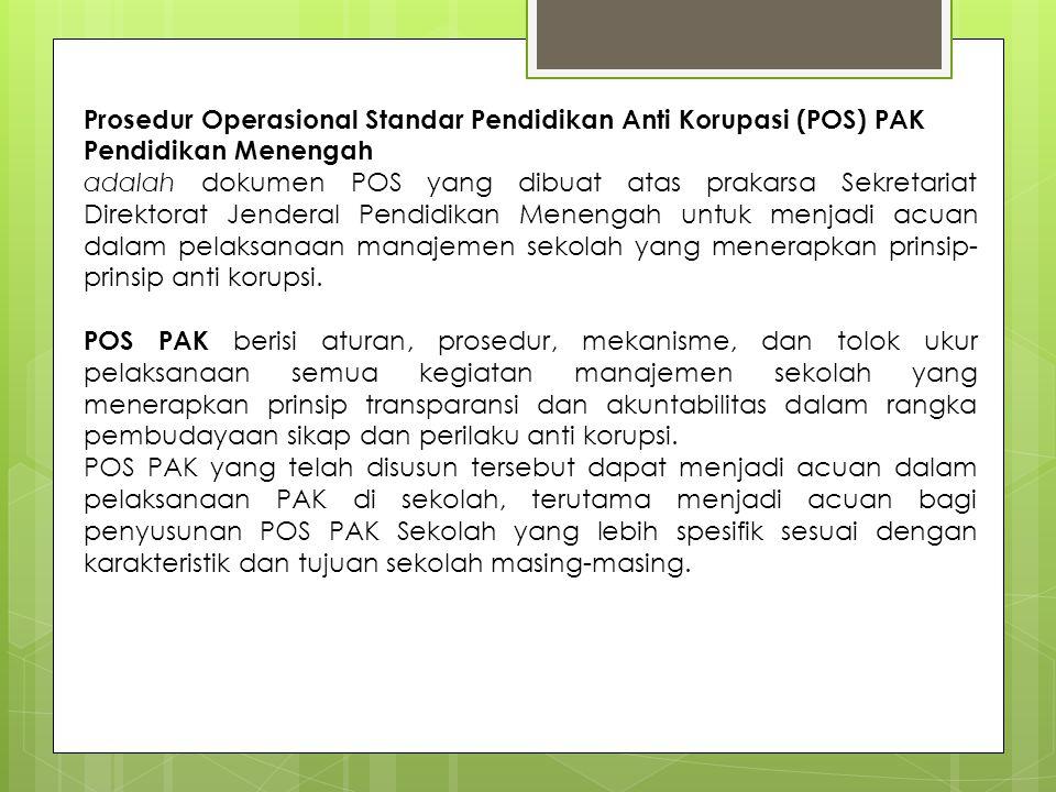 Prosedur Operasional Standar Pendidikan Anti Korupasi (POS) PAK Pendidikan Menengah adalah dokumen POS yang dibuat atas prakarsa Sekretariat Direktora
