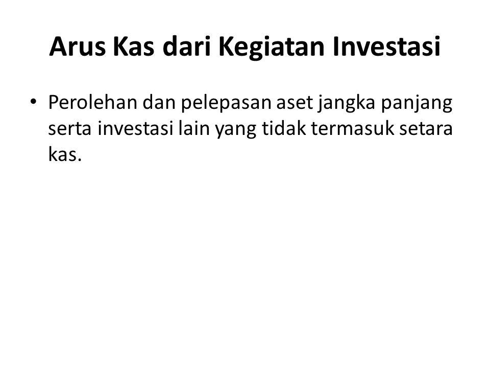 Arus Kas dari Kegiatan Investasi Perolehan dan pelepasan aset jangka panjang serta investasi lain yang tidak termasuk setara kas.
