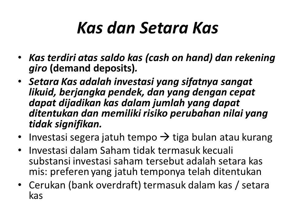 Kas dan Setara Kas Kas terdiri atas saldo kas (cash on hand) dan rekening giro (demand deposits). Setara Kas adalah investasi yang sifatnya sangat lik