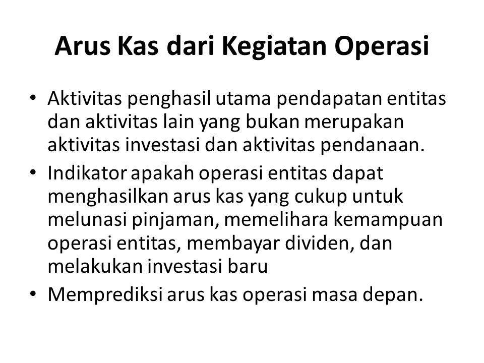 Arus Kas dari Kegiatan Operasi Aktivitas penghasil utama pendapatan entitas dan aktivitas lain yang bukan merupakan aktivitas investasi dan aktivitas