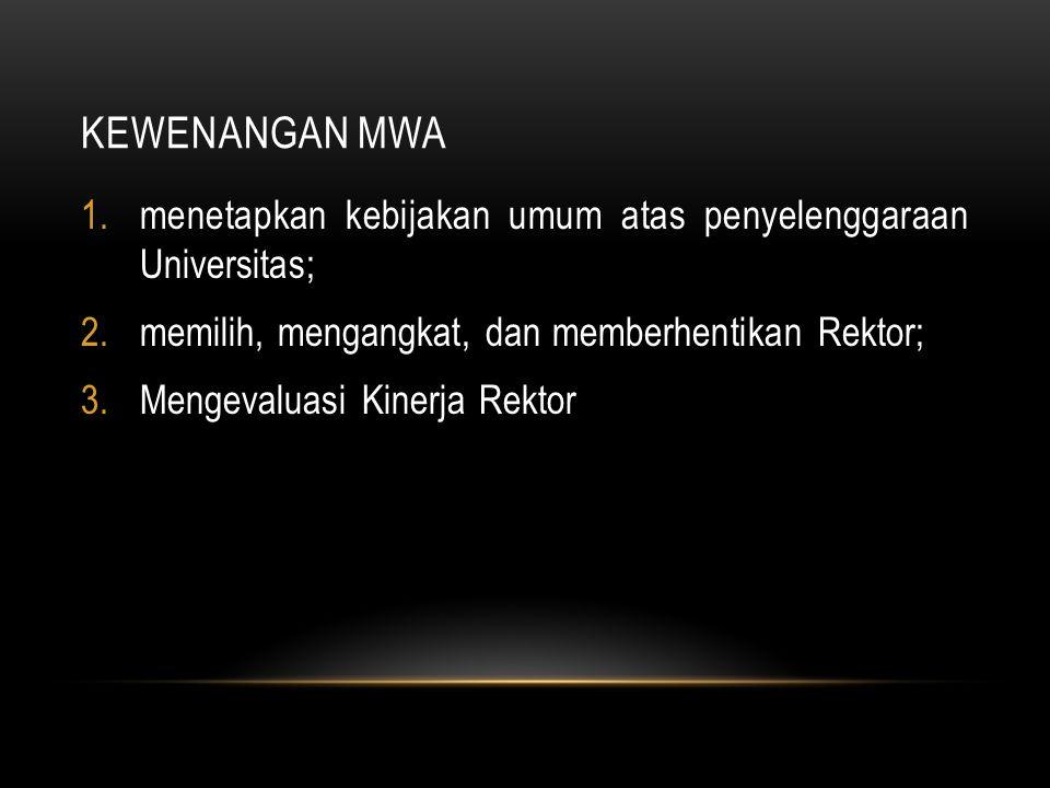 KEWENANGAN MWA 1.menetapkan kebijakan umum atas penyelenggaraan Universitas; 2.memilih, mengangkat, dan memberhentikan Rektor; 3.Mengevaluasi Kinerja