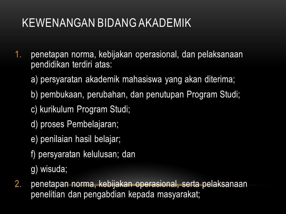 KEWENANGAN BIDANG AKADEMIK 1.penetapan norma, kebijakan operasional, dan pelaksanaan pendidikan terdiri atas: a) persyaratan akademik mahasiswa yang a