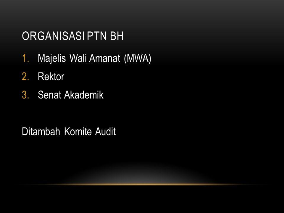 ORGANISASI PTN BH 1.Majelis Wali Amanat (MWA) 2.Rektor 3.Senat Akademik Ditambah Komite Audit