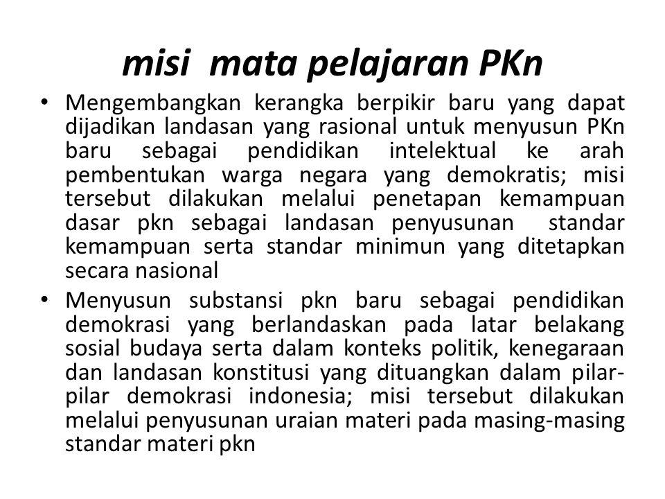 misi mata pelajaran PKn Mengembangkan kerangka berpikir baru yang dapat dijadikan landasan yang rasional untuk menyusun PKn baru sebagai pendidikan in