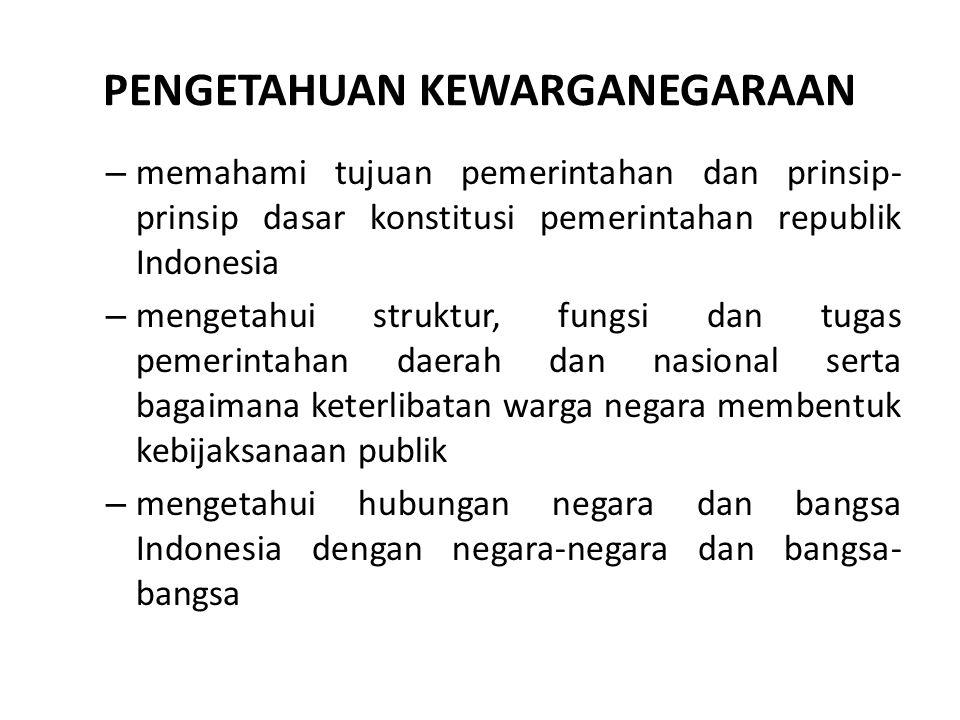 PENGETAHUAN KEWARGANEGARAAN – memahami tujuan pemerintahan dan prinsip- prinsip dasar konstitusi pemerintahan republik Indonesia – mengetahui struktur