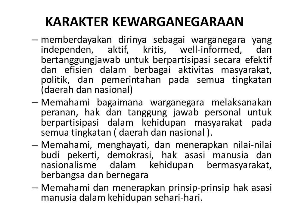 Visi mata pelajaran PKn Mewujudkan proses pendidikan yang integral di sekolah untuk pengembangan kemampuan dan kepribadian warga negara yang cerdas, partsipasif dan bertanggungjawab yang pada gilirannya akan menjadi landasan untuk berkembangnya masyarakat Indonesia yang demokratis.