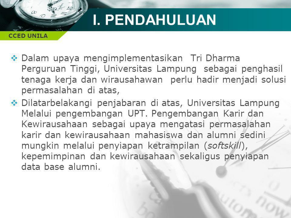 CCED UNILA I. PENDAHULUAN  Dalam upaya mengimplementasikan Tri Dharma Perguruan Tinggi, Universitas Lampung sebagai penghasil tenaga kerja dan wiraus